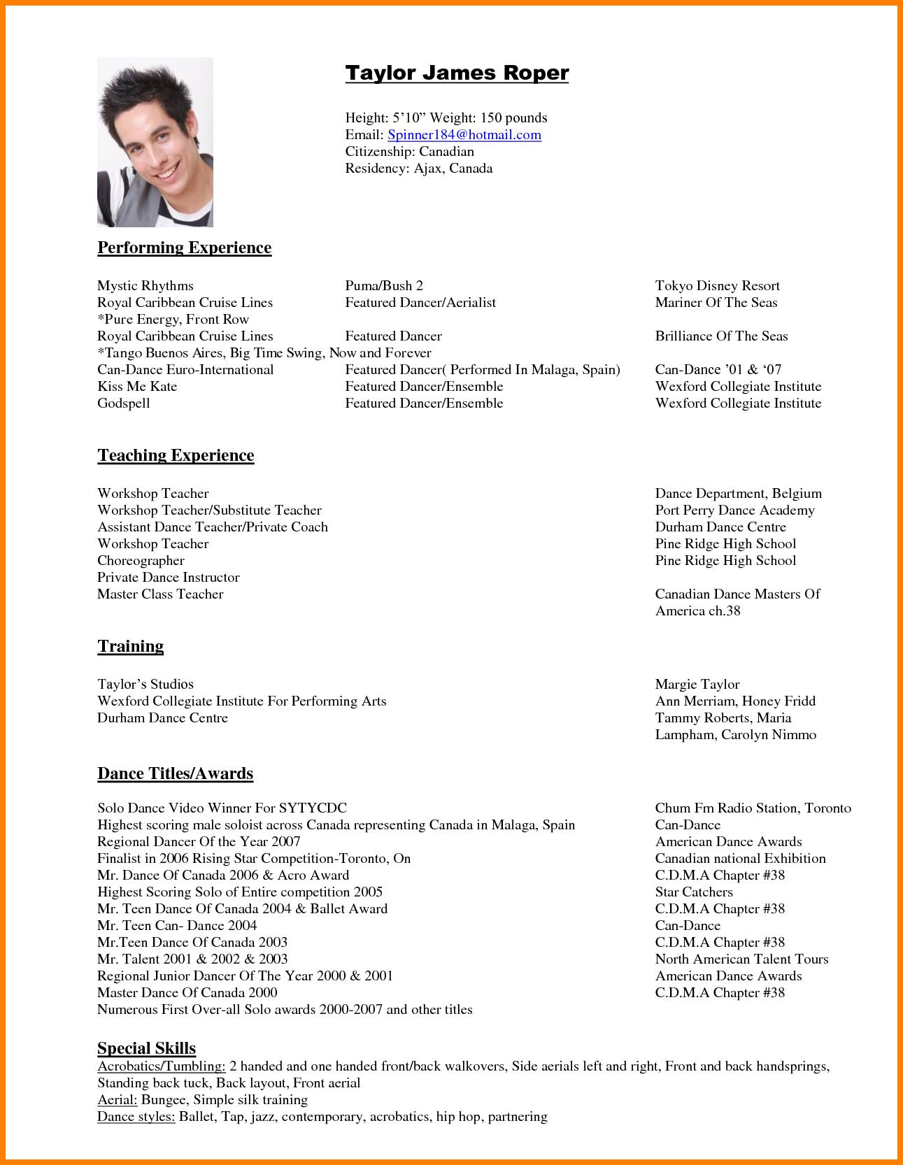 Dance Resume Templates