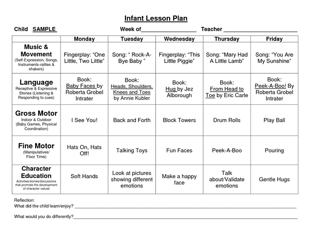 Daycare Infant Lesson Plan Template