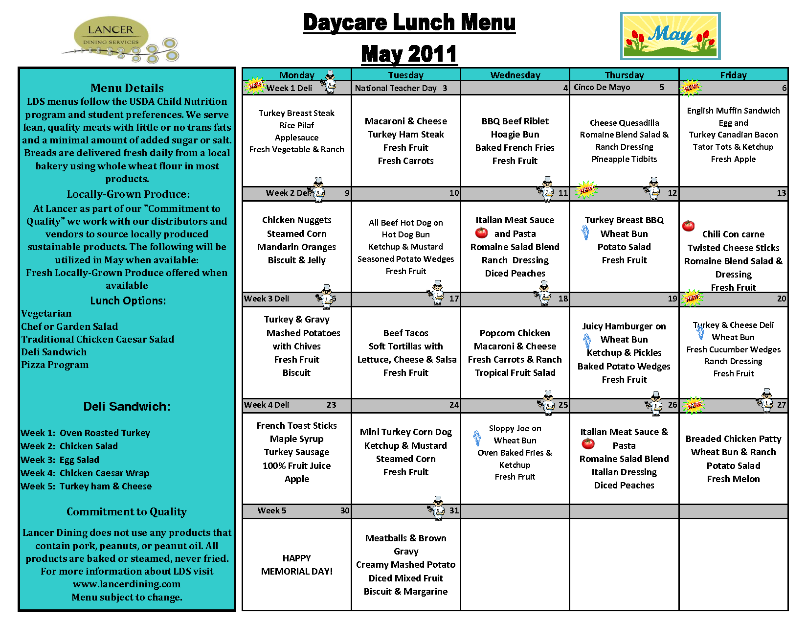 Daycare Lunch Menu Template