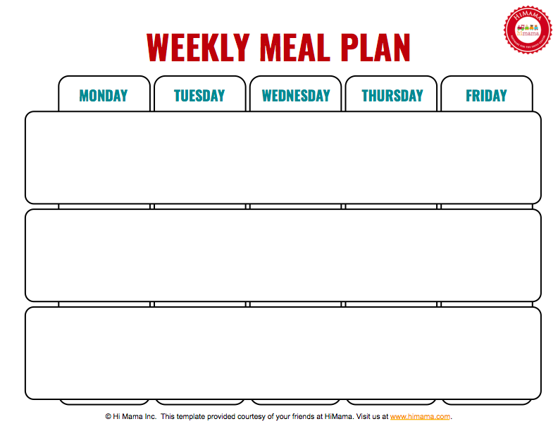 Daycare Monthly Menu Template