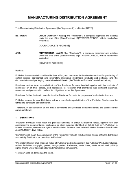 Distribution Agreement Template Doc