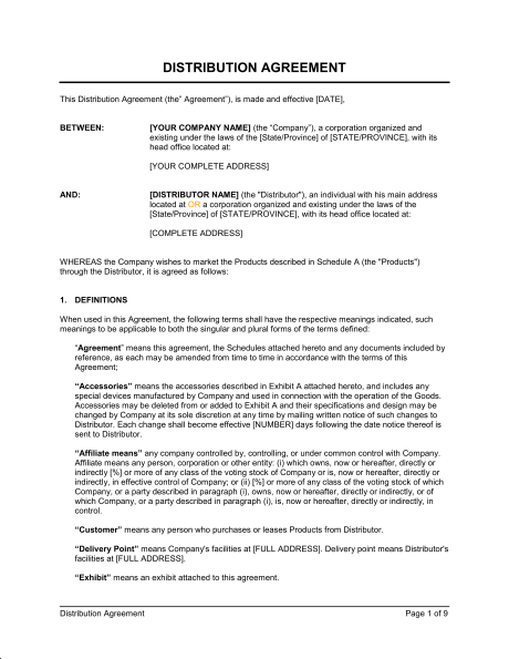 Distribution Agreement Template Pdf