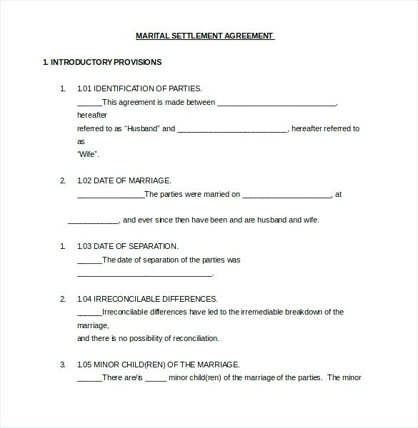 Divorce Settlement Agreement Template California