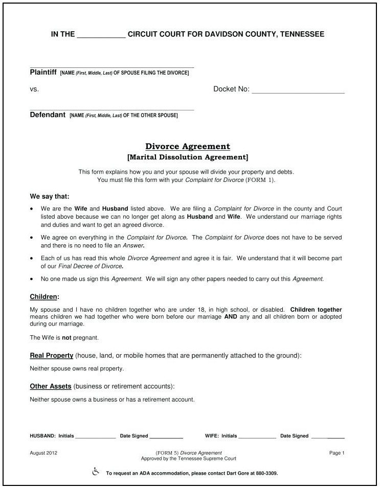 Divorce Settlement Agreement Template Maryland