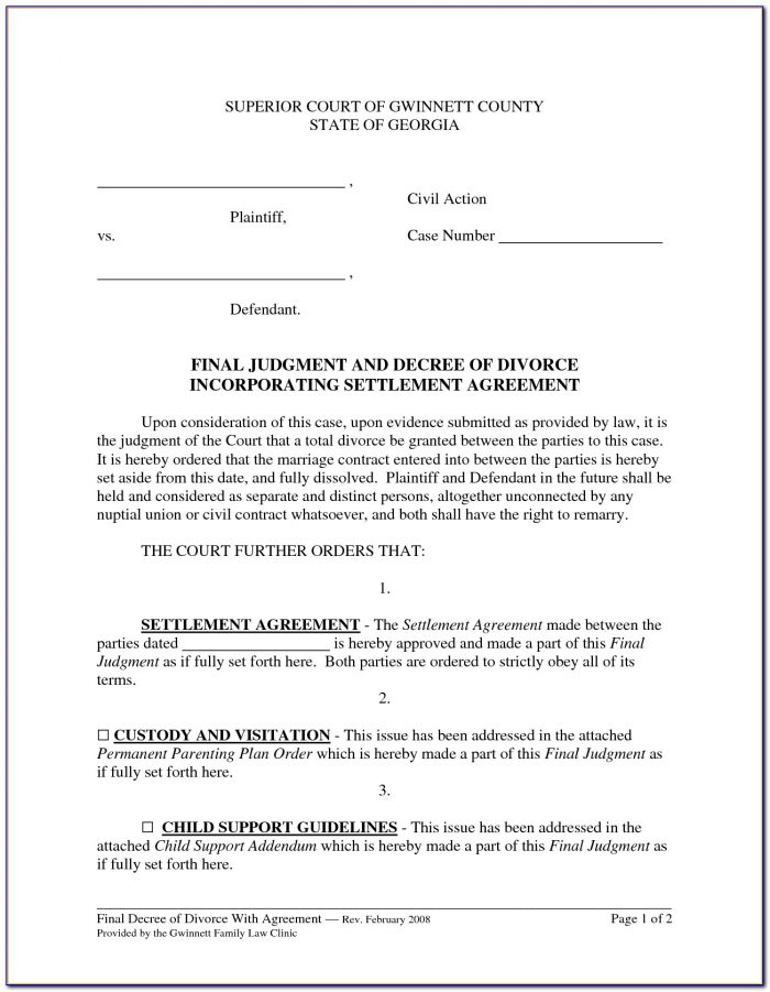 Divorce Settlement Agreement Template New York