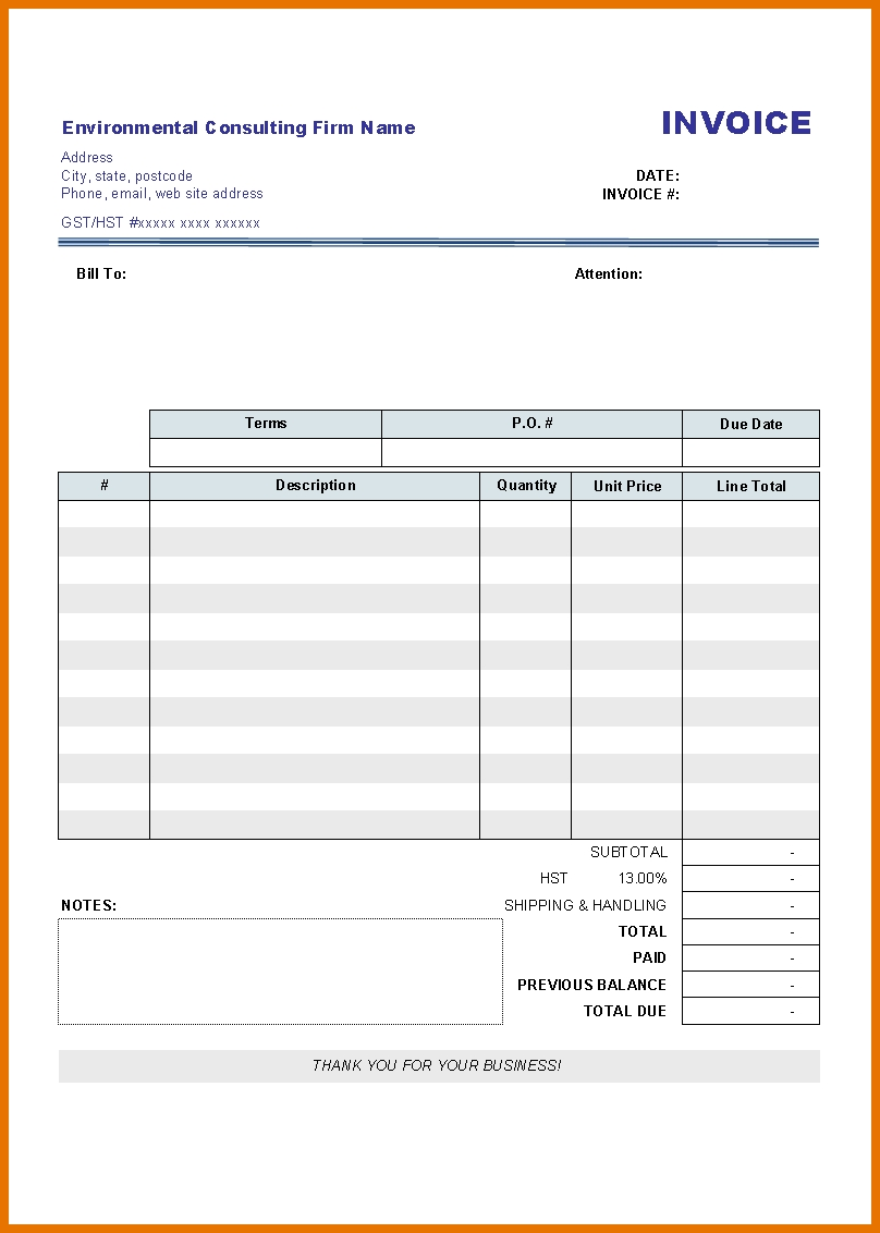 7+ Free Blank Invoice | Itinerary Template Sample