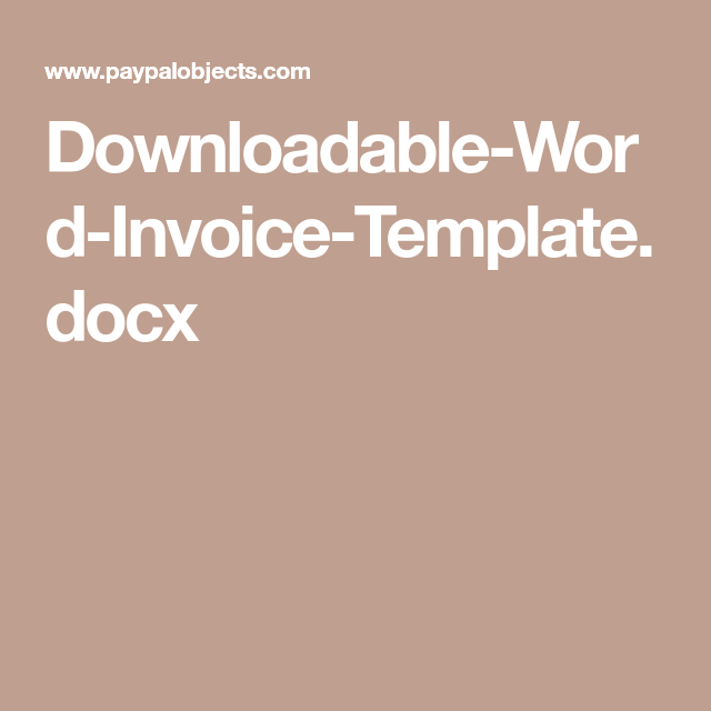 Downloadable Invoice Template Docx