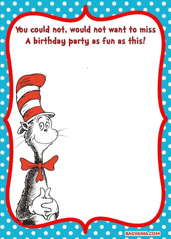 Dr Seuss Invitation Template Free