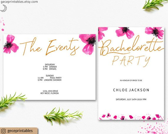 Editable Bachelorette Invitation Template