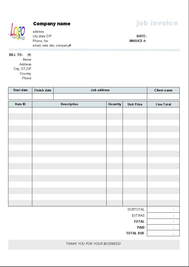 Editable Blank Invoice Template Word