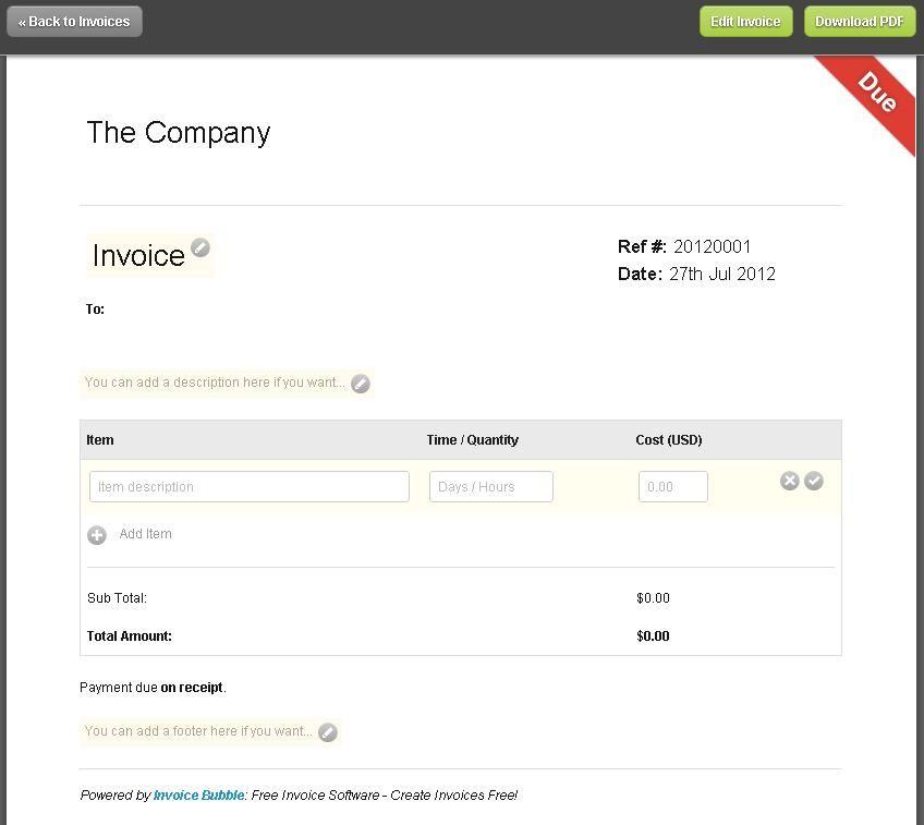 Editable Free Printable Invoice Templates