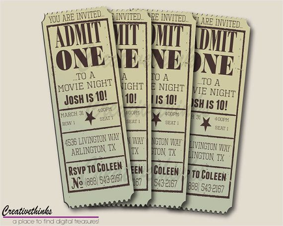 Editable Movie Ticket Invitation Template Free