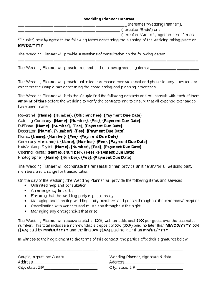 Event Planner Wedding Planner Contract Template