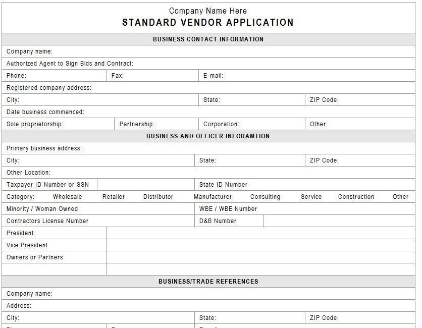Event Vendor Application Template