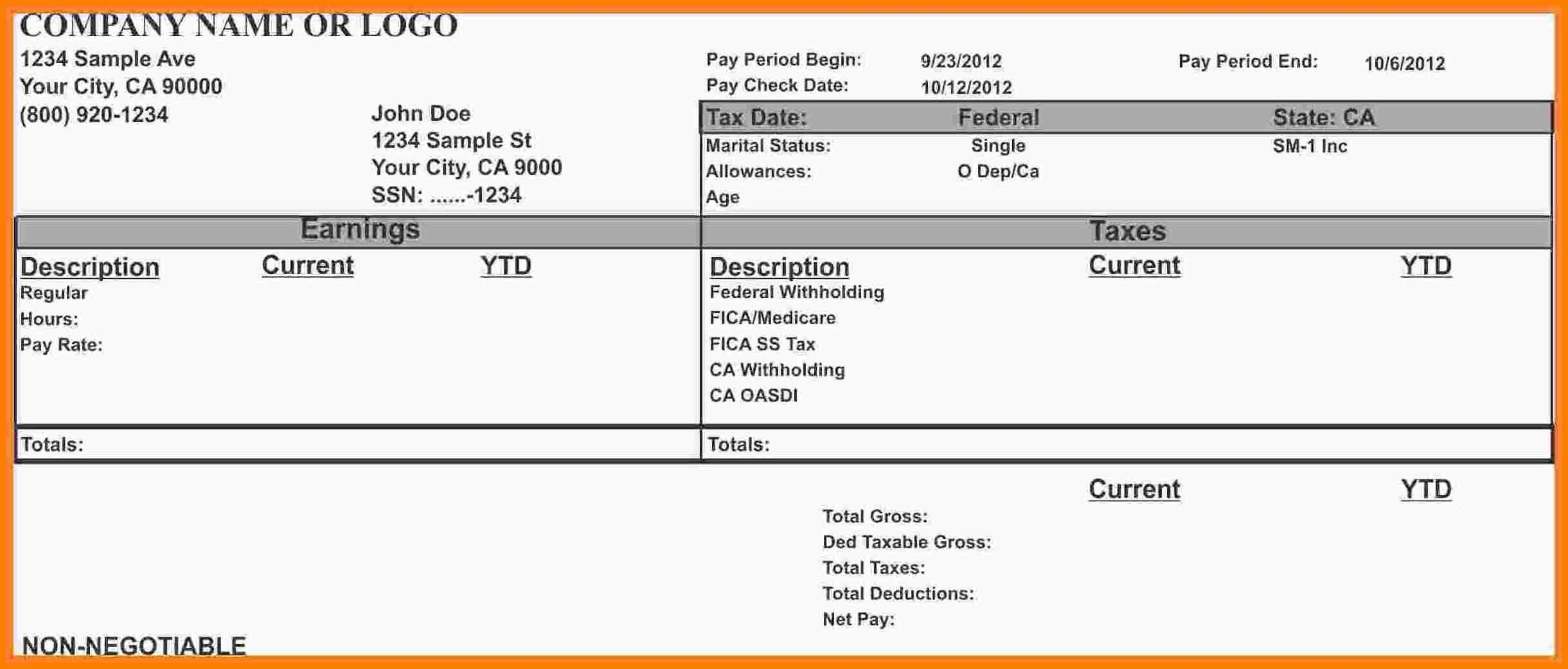 Excel Pay Stub Template Canada