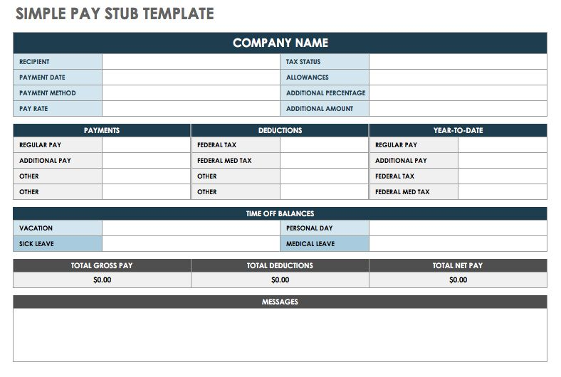 Excel Pay Stub Template Free