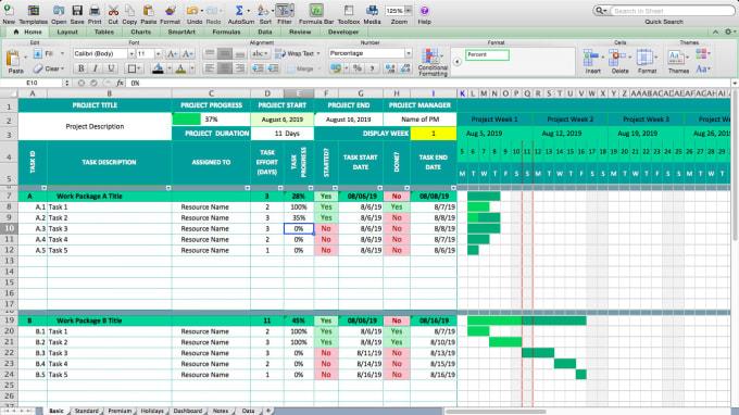 Excel Project Schedule Template Gantt