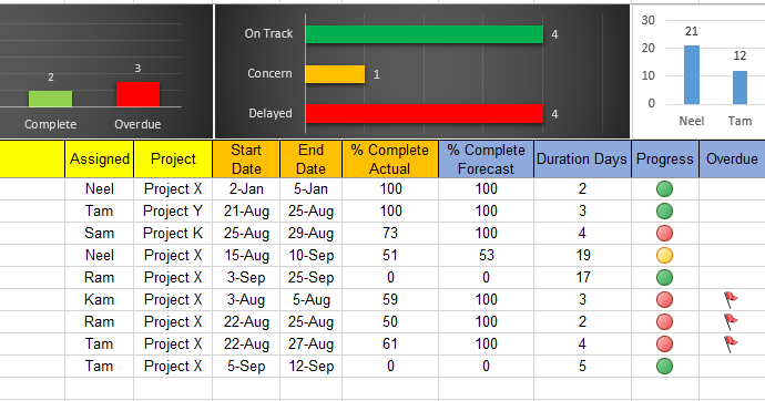 Excel Project Task Tracker Template