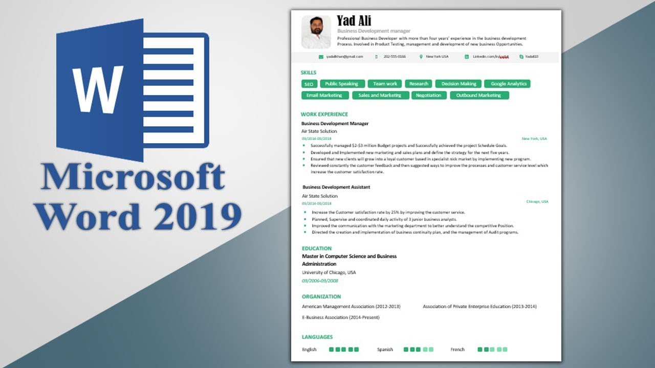 Executive Resume Template Word 2019