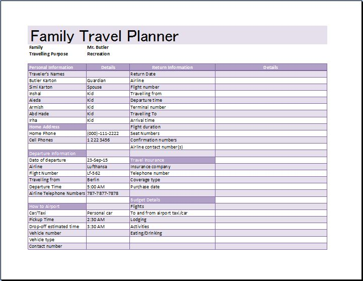 Family Vacation Schedule Template