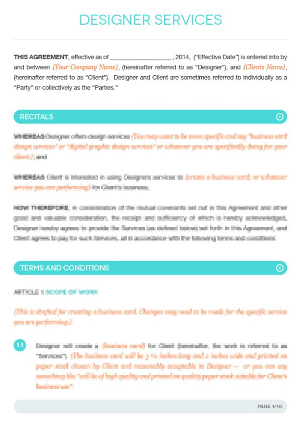 Fashion Designer Contract Template