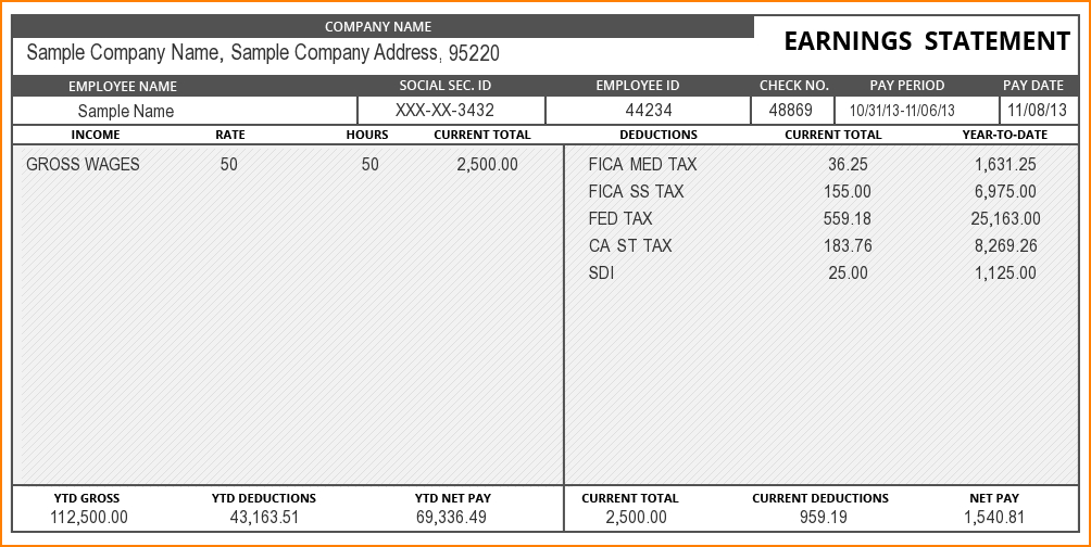 Fillable Excel Pay Stub Template