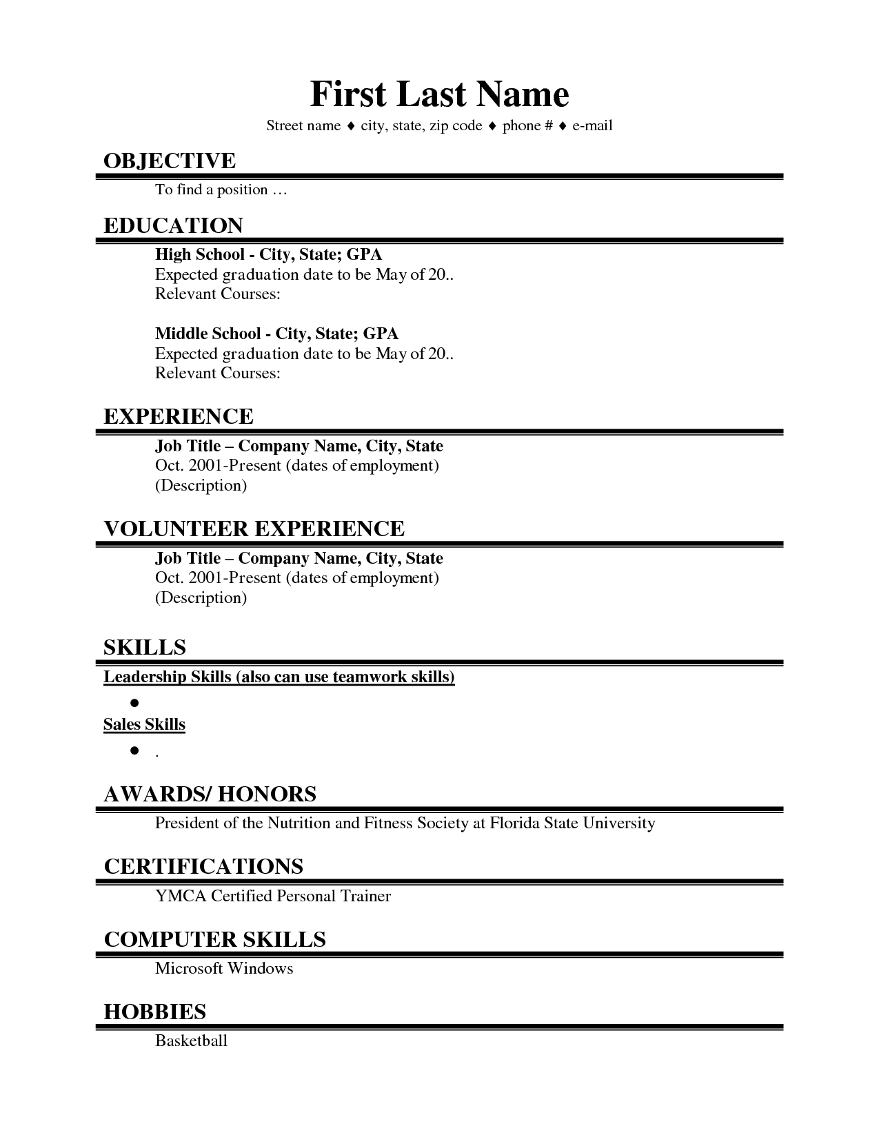 First Job High School Student Resume Templates