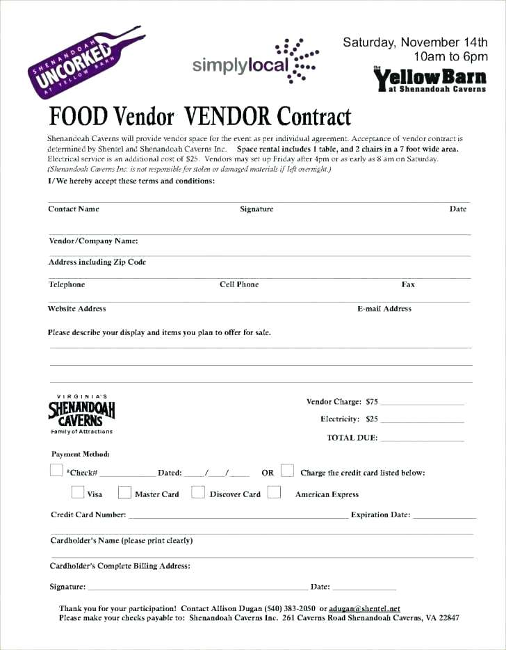 Food Vendor Agreement Template