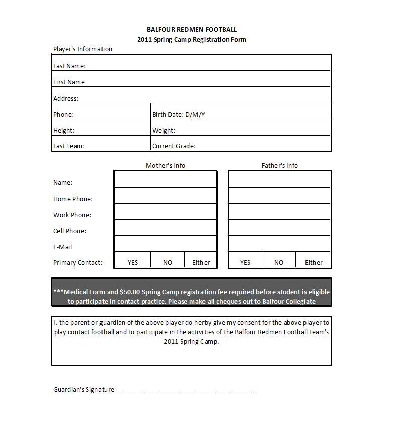 Football Camp Registration Form Template