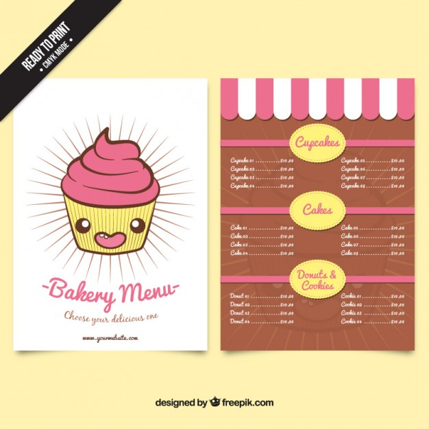 Free Bakery Menu Templates Download