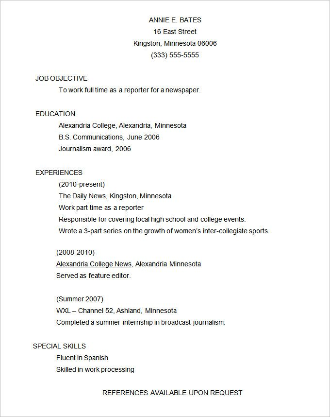 Free Functional Resume Templates Download