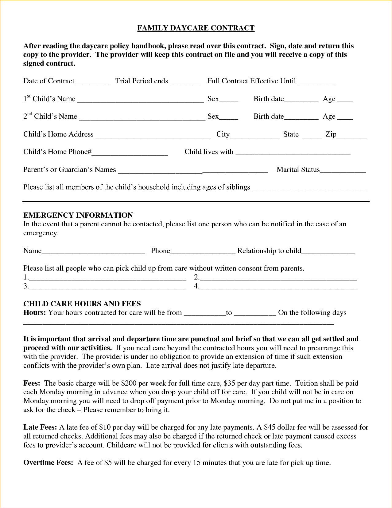 Free Home Daycare Contract Template