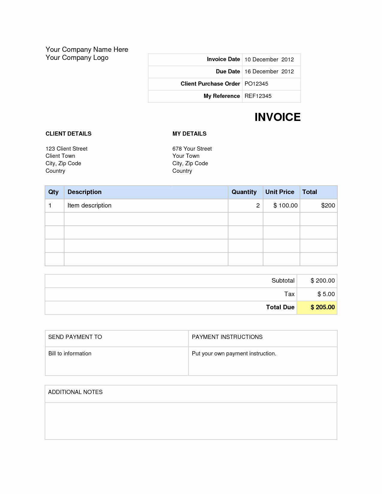 Free Invoice Template In Word Example Free