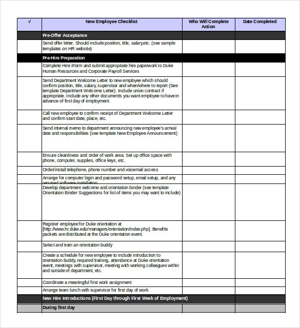 Free Onboarding Checklist Template Word
