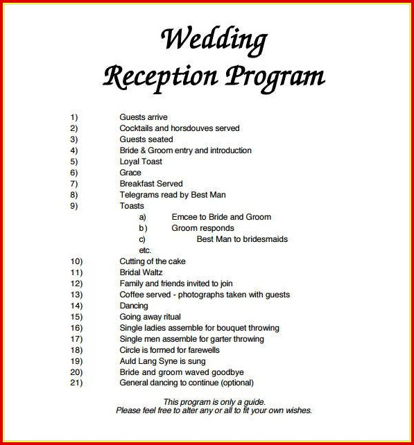 Free Printable Wedding Reception Program Templates