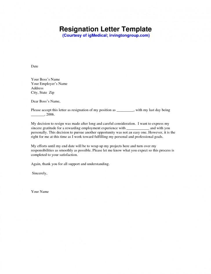 Free Resignation Letter Template Australia
