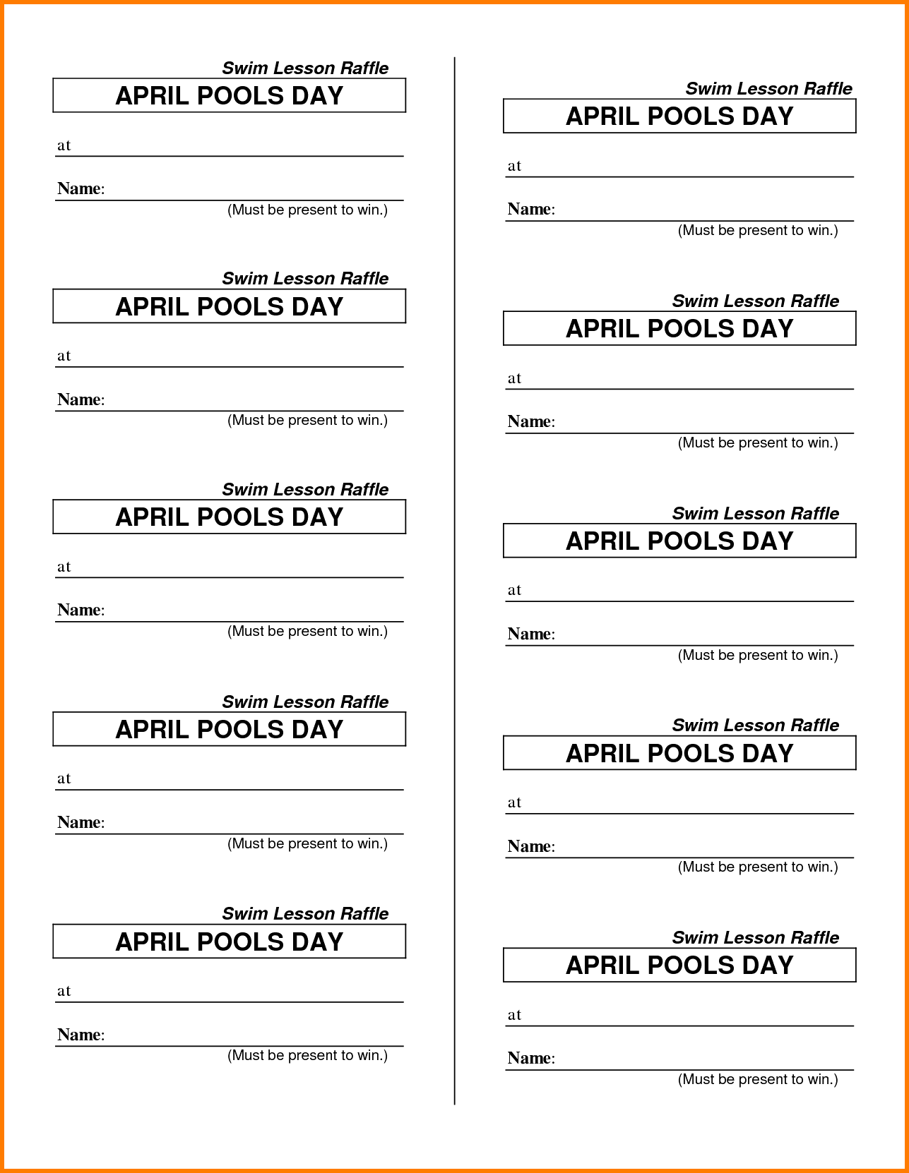 Free Template For Raffle Tickets