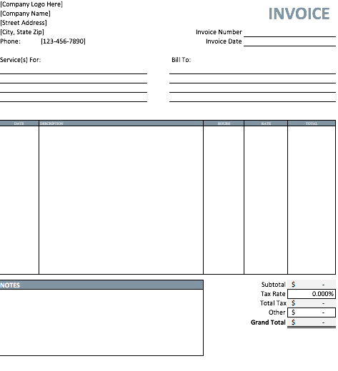 Free Templates For Invoices Printable