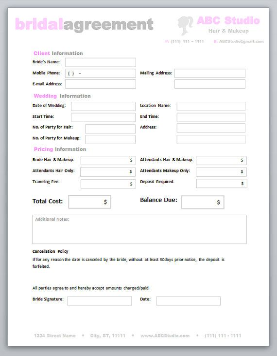 Freelance Makeup Artist Contract Template
