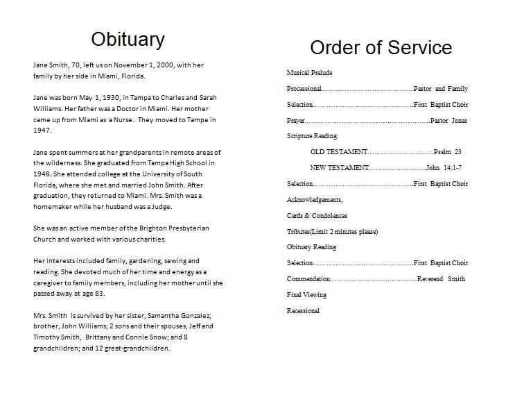 Funeral Program Order Of Service Template