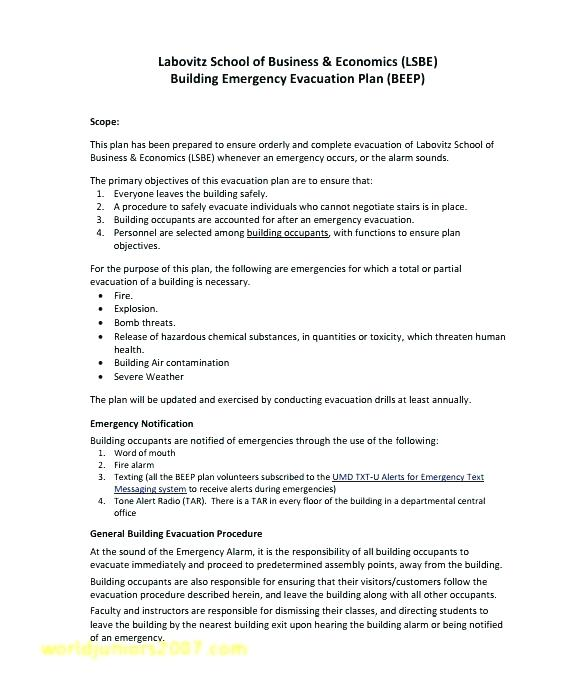 General Emergency Evacuation Plan Template