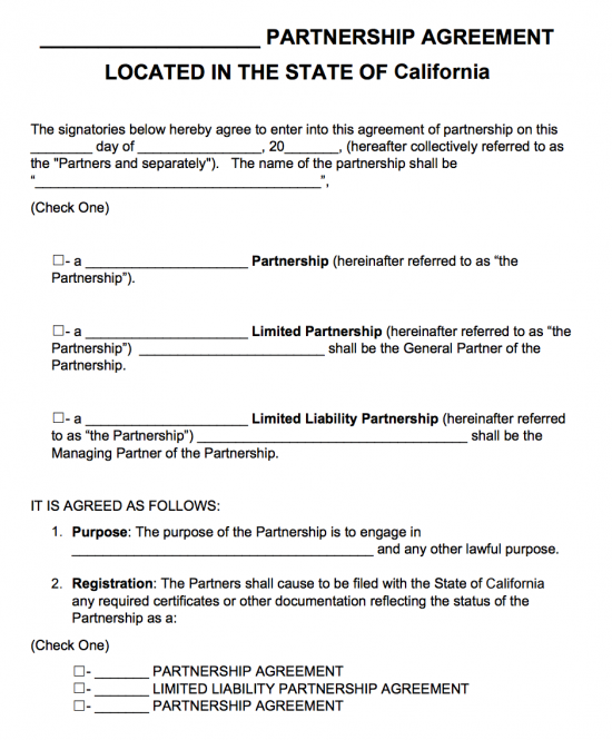 General Partnership Agreement Template California