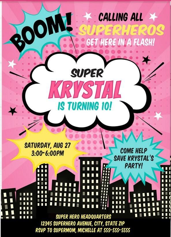 Girl Superhero Invitation Template