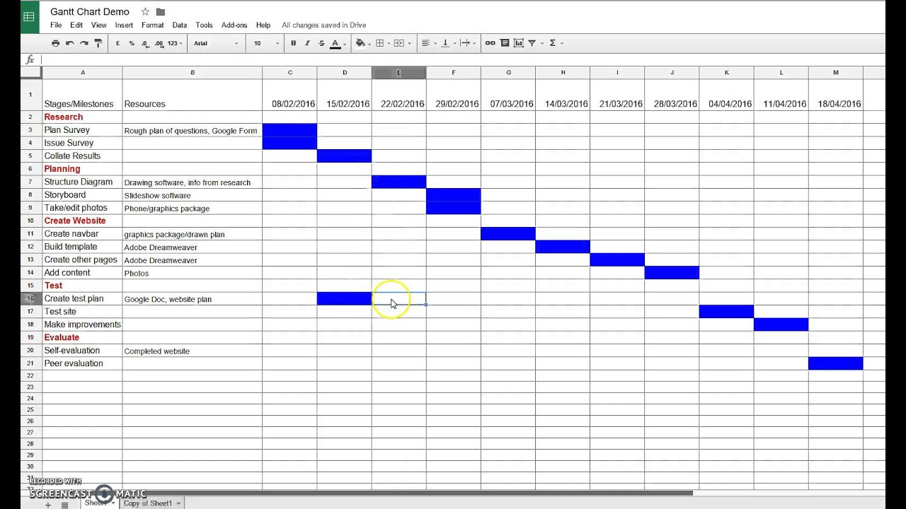 Google Sheets Gantt Chart Template With Dates