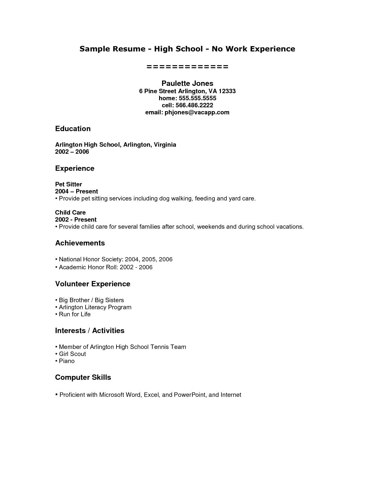 High School Student Resume Templates No Work Experience