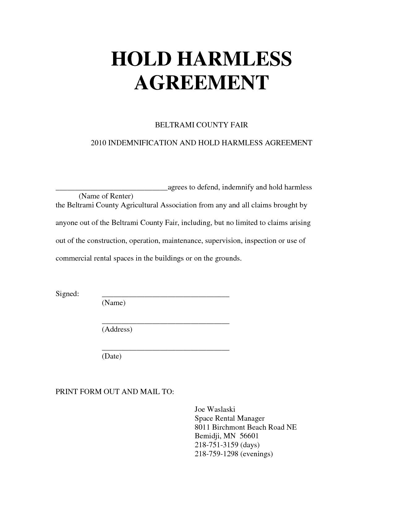 Hold Harmless Agreement Form