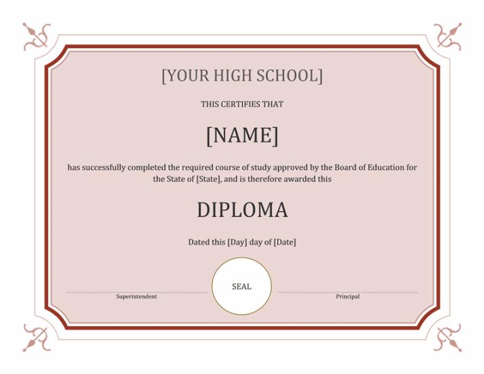 Homeschool Diploma Template Word