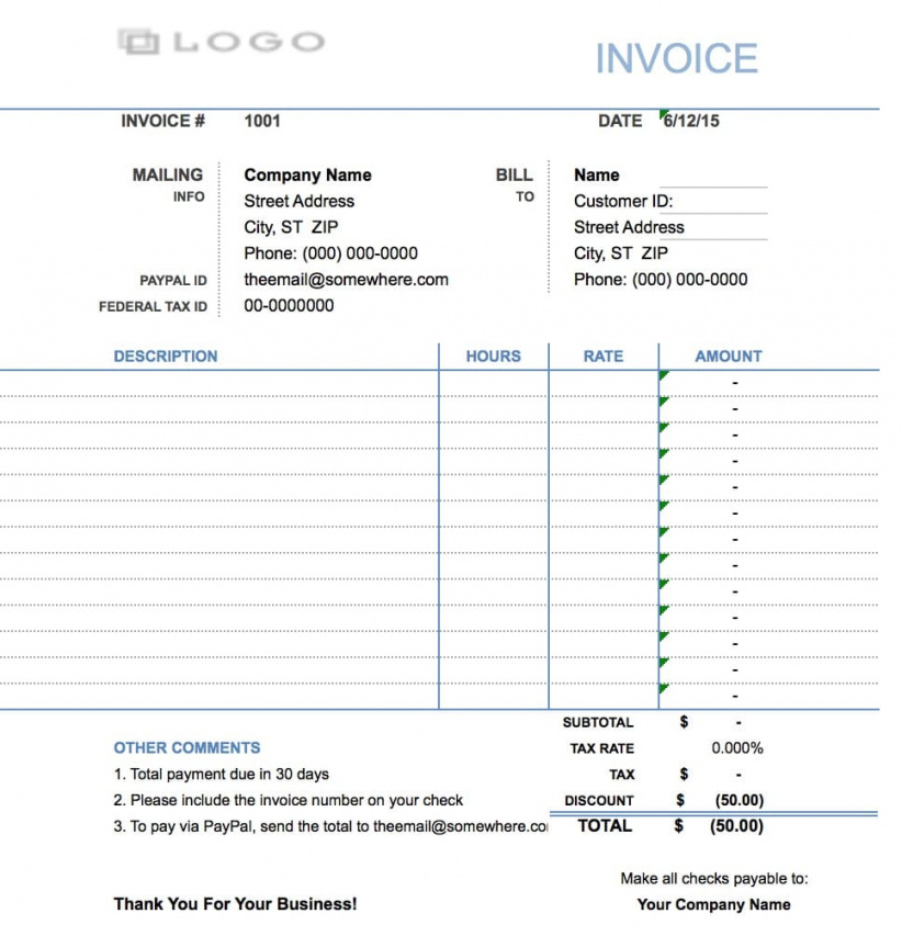 Free Hourly Invoice Template   Excel   Pdf   Word (.doc) Hourly Work Invoice Template