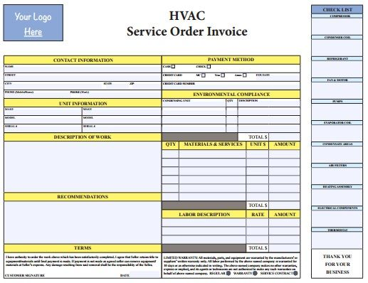 Hvac Invoice Template Pdf