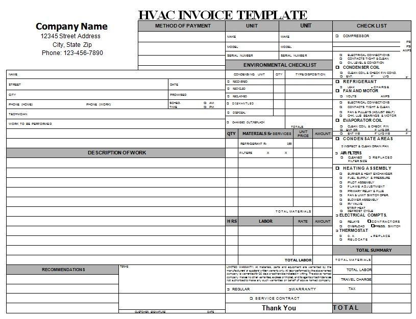 Hvac Repair Invoice Template